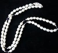 5mm White and Black Freshwater Cultured Pearl Necklace with Silver beads and Clasp